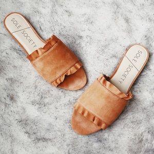 Sole Society Orange Slides Ruffle Feminine Sandals